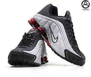 Tênis Masculino Nike Shox R4 Linha Premium - Preto / Cinza / Vermelho