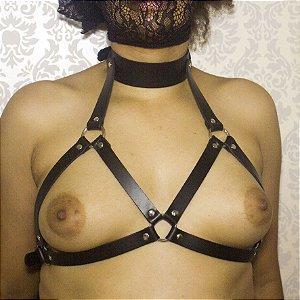 ARREIO HARNESS FEMININO COURO COM COLAR