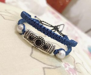 Pulseira dupla azul