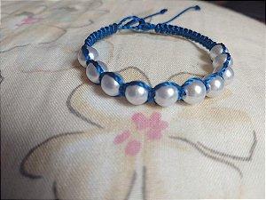 Pulseira azul com pérolas