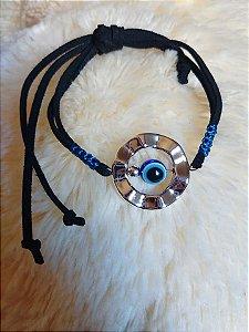 Pulseira olho grego com fios de camurça