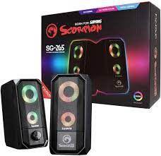 CAIXA DE SOM P2 SG-265 STEREO 2.0 RGB COM ALIMENTACAO USB SCORPION MARVO BOX