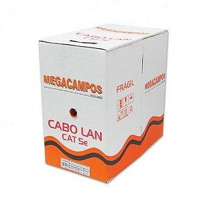 CAIXA DE CABO DE REDE 300 METROS CAT5E 100% COBRE PRETO MEGACAMPOS BOX
