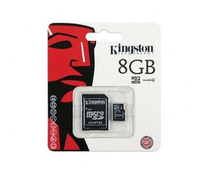 CARTÃO DE MEMORIA CLASSE 4 SDC4/8GB 8 GB C/MICRO SD ADAPTER KINGSTON BOX