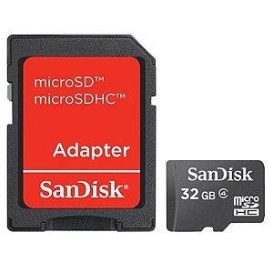 CARTÃO DE MEMORIA CLASSE 4 SDSDQM-032G-B35A 32GB C/MICRO SD ADAPTER SANDISK BOX