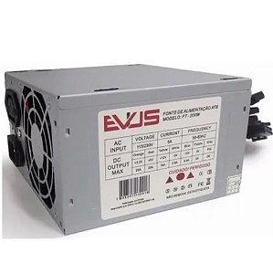 FONTE ATX 200W 20/24 PINOS FT-200W 2-SATA 2 IDE S/CABO EVUS BOX