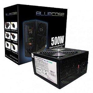 FONTE ATX 500W REAL 20/24 PINOS BLU 500 ATX BLUECASE BOX