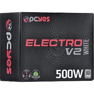 FONTE ATX 500W REAL ELV2WHPTO500W 80 PLUS WHITE PCYES BOX