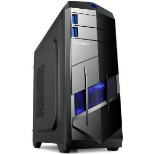 GABINETE 2 BAIAS BG-023 S/ FONTE USB 3.0 PRETO/AZUL BLUECASE BOX