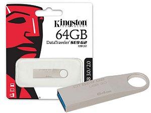 PEN DRIVE 64GB DATATRAVELER SE9 G2 DTSE9G2/64GB PRATA KINGSTON BOX