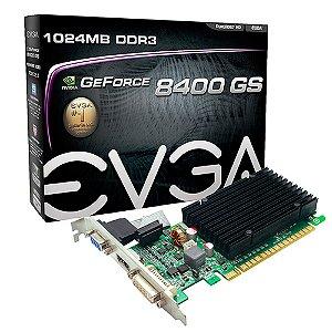 PLACA DE VIDEO 1 GB PCIEXP 8400 01G-P3-1303-KR 64BITS DDR3 GEFORCE NVIDIA VGA/HDMI/DVI EVGA BOX