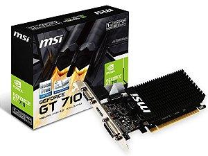PLACA DE VIDEO 1GB PCIEXP GT 710 912-V809-2022 64BITS DDR3 LOW PROFILE VGA/HDMI/DVI MSI BOX