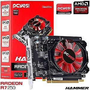 PLACA DE VIDEO 2GB PCIEXP R7 250 HAMMER PH25012802D5 128BITS GDDR5 RADEON PCYES BOX