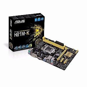 PLACA MAE 1150 MICRO ATX H81M-K DDR3 VGA, DVI, USB 3.0 ASUS BOX IMPORTADO