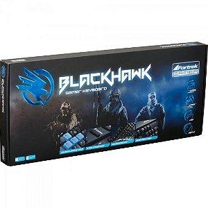 TECLADO USB GK702 BLACKHAWK GAMER MULTIMÍDIA PRETO/AZUL FORTREK BOX