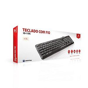 TECLADO USB KB-11BK PADRÃO 107 TECLAS PRETO C3TECH BOX
