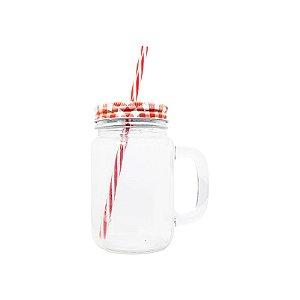 Caneca de Vidro Mason Jar Cristal para Sublimação com Tampa e Canudo Vermelho - 475ml