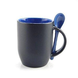 Caneca Magica para Sublimação Preta Fosca com Colher e Interior Azul