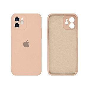 Capa C/ na Câmera Silicone para iPhone 12/12Pro - Rosa Areia