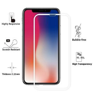 Película De Vidro Premium C/ Bordas 3D Para Apple Iphone Iphone X XS Branca (5'8)