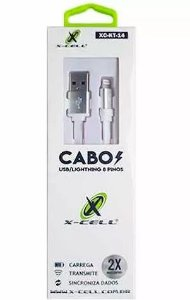 Cabo iPhone Lightning 8 Pinos 1,2Mts X-Cell KT 14 Branco