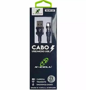 Cabo iPhone Lightning 8 Pinos 1,2Mts X-Cell KT 14 Preto