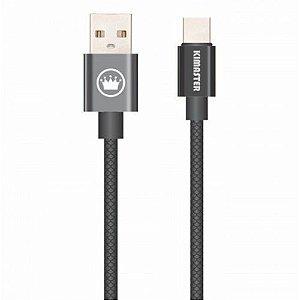 Cabo USB Type C Texturizado 2A Kimaster - CB711 Preto