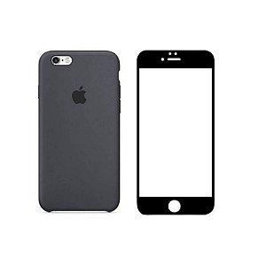 Kit Película 5D Preta e Capa Original Preta iPhone 6 e 6S