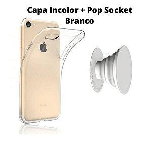 Kit Capa Incolor iPhone 7 8 + Suporte Anel Selfie Celular Branco