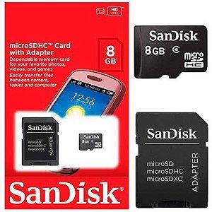 Cartão De Memória 8 GB Sandisk Micro Sd Com Adaptador