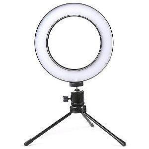 Selfie Light 6 Pol LED Controle Cor/Intensidade com tripé