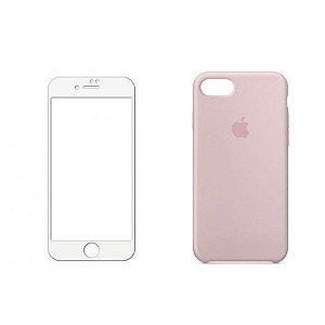 Kit Capa Case Rosa areia+Película 3D Branca Para iPhone 7 8