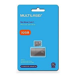 Pen Drive 2 em 1 Leitor USB + Cartão de Memória 32GB Class 4