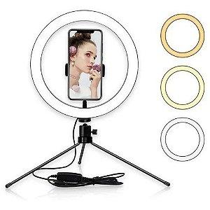 Luz Selfie 8 Pol Led Controle de Cor/Intensidade Com Tripé