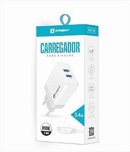 Kit Carregador Tomada 2 USB 3.4A + Cabo Lightning 1m Sumexr