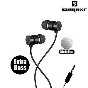 Fone de Ouvido c/ Microfone Com Graves Sumexr SEJ-C4 - Preto