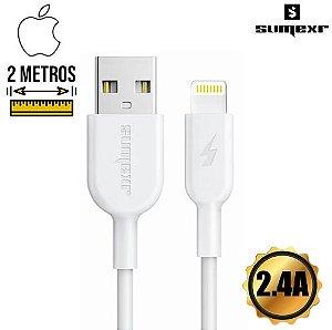 Cabo USB Lightning Emborrachado 2m 2.4A Sumexr SS-A1i6 Branco