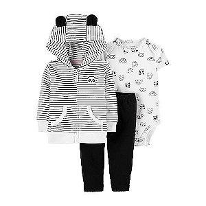 Conjunto de 3-peças panda- Jaqueta listrada, legging preto e body branco.