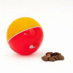 Crazy Ball Alimentador Brinquedo e Comedouro Amarelo e Vermelho