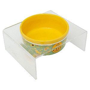 Comedouro elevado cerâmica e acrílico CloGatíssima Amarelo