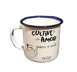 Caneca para café 150 ml em ágata CloGatíssima branca