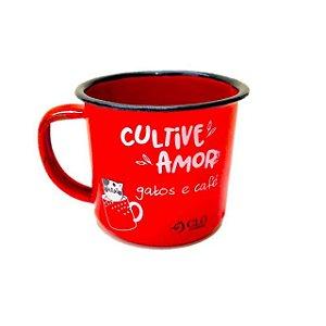 Caneca para café 150 ml em ágata CloGatíssima vermelha