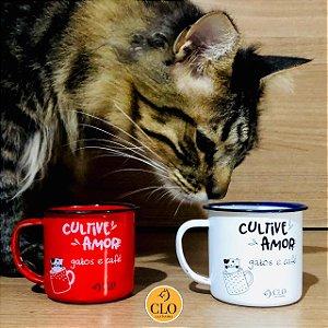 KIt canecas para café 150ml em ágata CloGatíssima branca/vermelha
