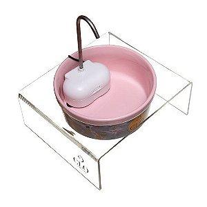 Fonte de água elevada para gatos CloFonte CloGatíssima rosa