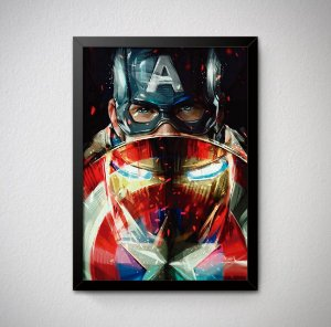 Quadro Decorativo Homem de Ferro e Capitão América