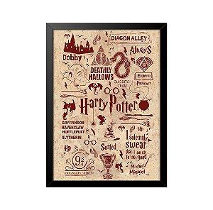 Quadro Poster Harry Potter Referências II 33x23cm