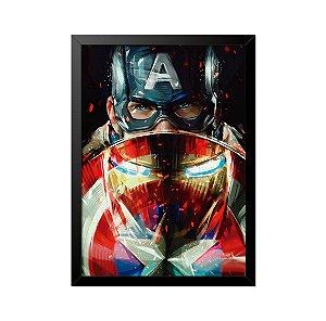 Quadro Poster Capitão América Homem de Ferro 33x23cm