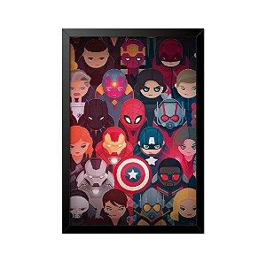 Quadro Poster Vingadores Desenho 33x23cm