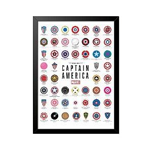 Quadro Poster Escudos Capitão América 33x23cm