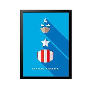 Quadro Poster Capitão América Minimalista 33x23cm